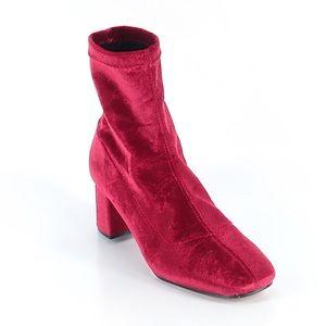 Zara Red Velvet Sock Booties size 10